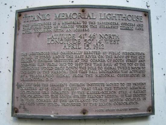 Abb. 12 - Gedenktafel am Titanic Memorial Lighthouse